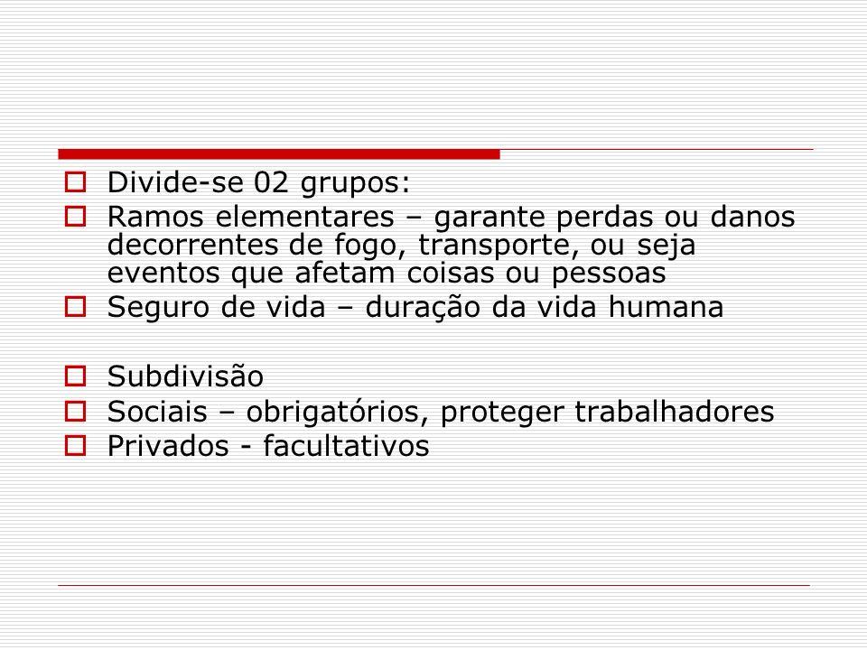 Divide-se 02 grupos: Ramos elementares – garante perdas ou danos decorrentes de fogo, transporte, ou seja eventos que afetam coisas ou pessoas.