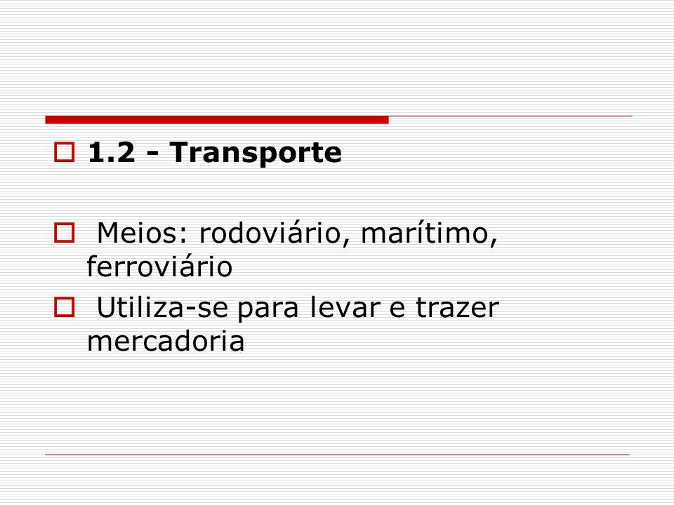 1.2 - Transporte Meios: rodoviário, marítimo, ferroviário Utiliza-se para levar e trazer mercadoria