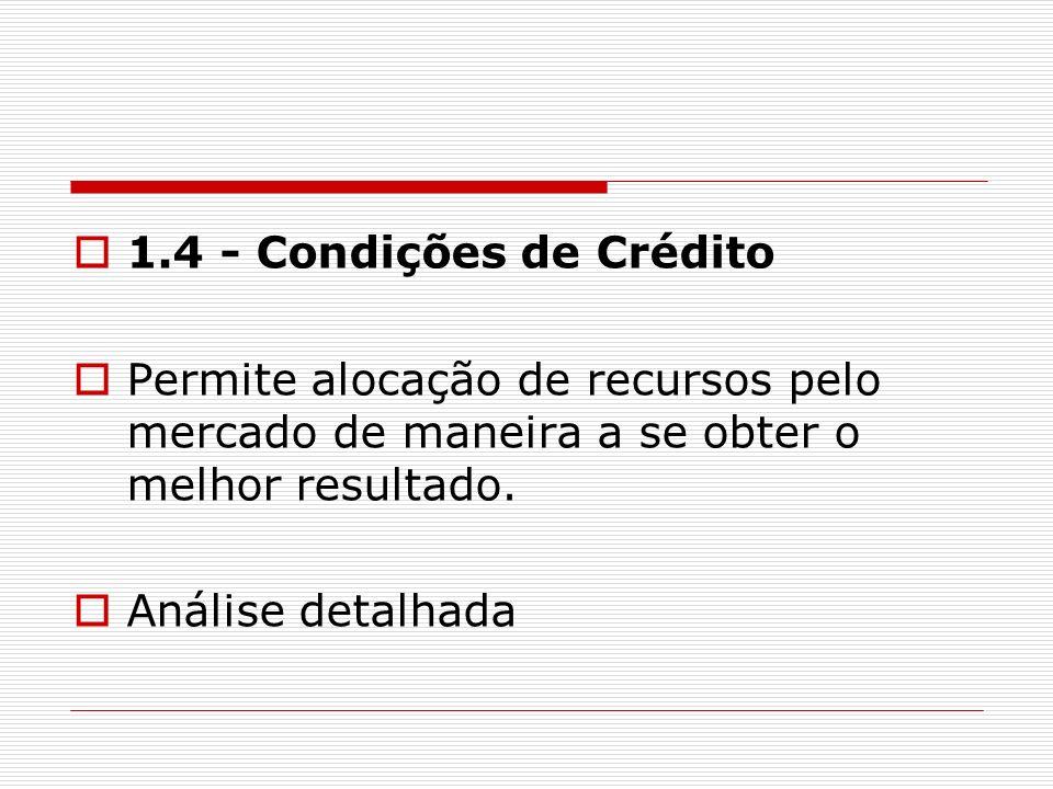 1.4 - Condições de Crédito Permite alocação de recursos pelo mercado de maneira a se obter o melhor resultado.