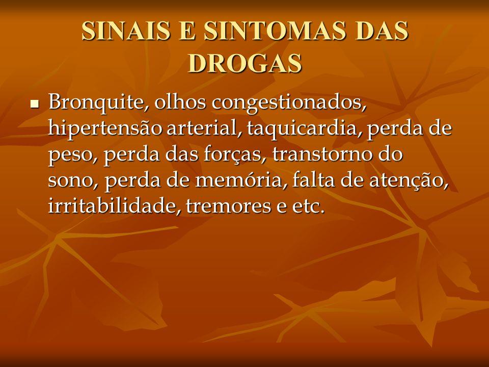 SINAIS E SINTOMAS DAS DROGAS