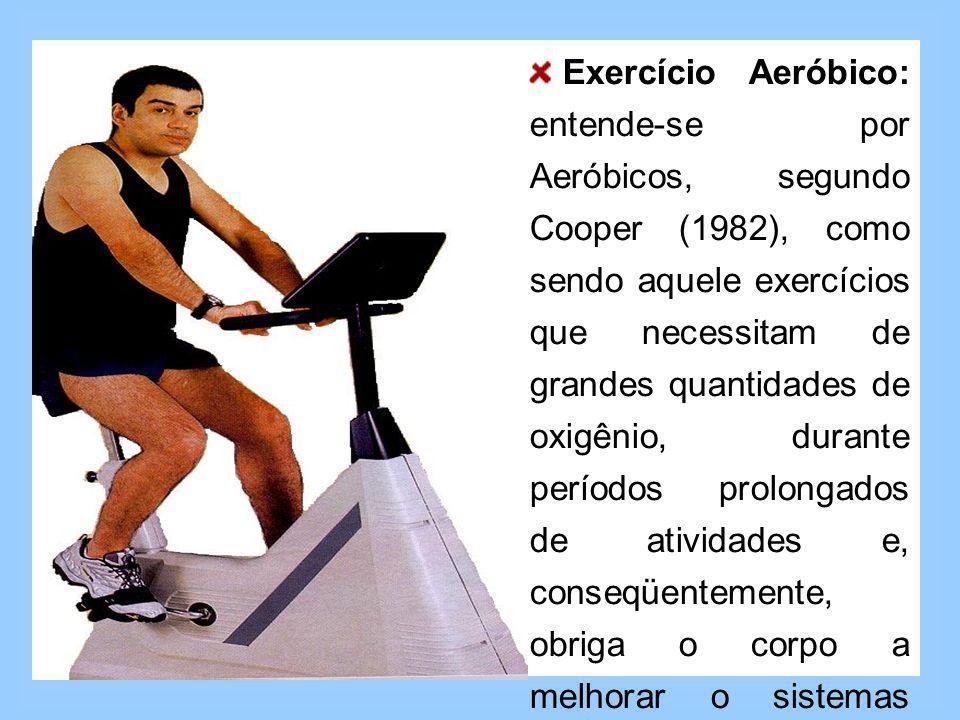 Exercício Aeróbico: entende-se por Aeróbicos, segundo Cooper (1982), como sendo aquele exercícios que necessitam de grandes quantidades de oxigênio, durante períodos prolongados de atividades e, conseqüentemente, obriga o corpo a melhorar o sistemas responsáveis pelo transporte de oxigênio no organismo.