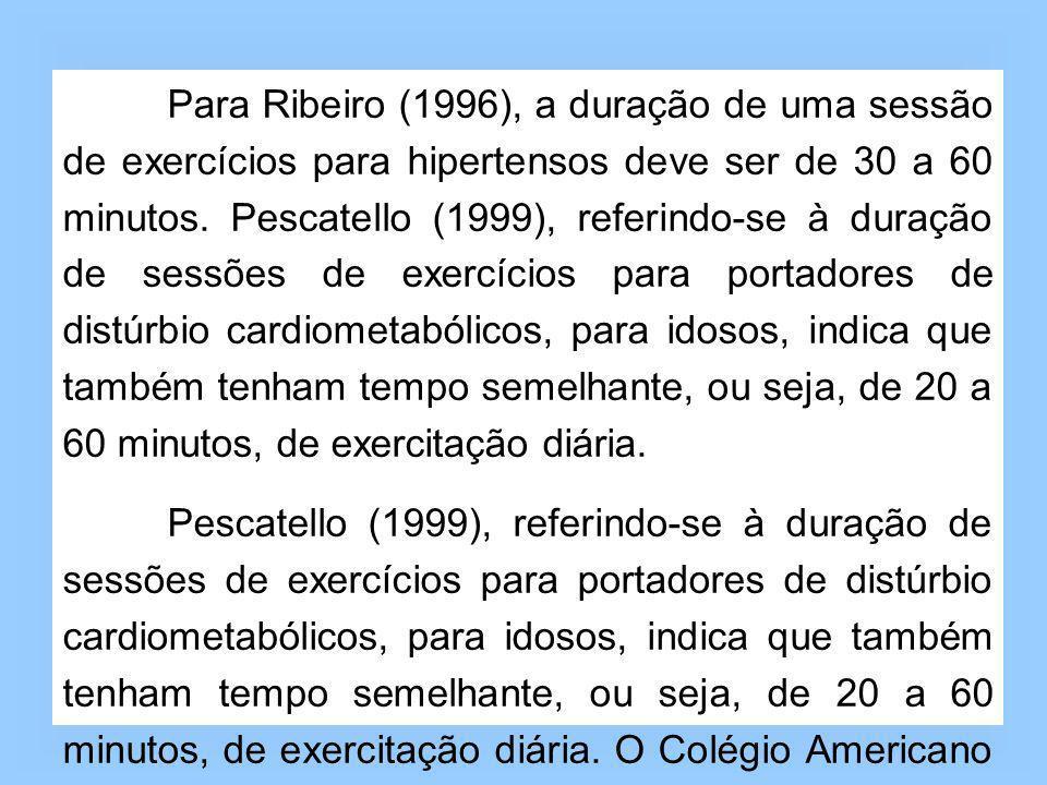 Para Ribeiro (1996), a duração de uma sessão de exercícios para hipertensos deve ser de 30 a 60 minutos. Pescatello (1999), referindo-se à duração de sessões de exercícios para portadores de distúrbio cardiometabólicos, para idosos, indica que também tenham tempo semelhante, ou seja, de 20 a 60 minutos, de exercitação diária.