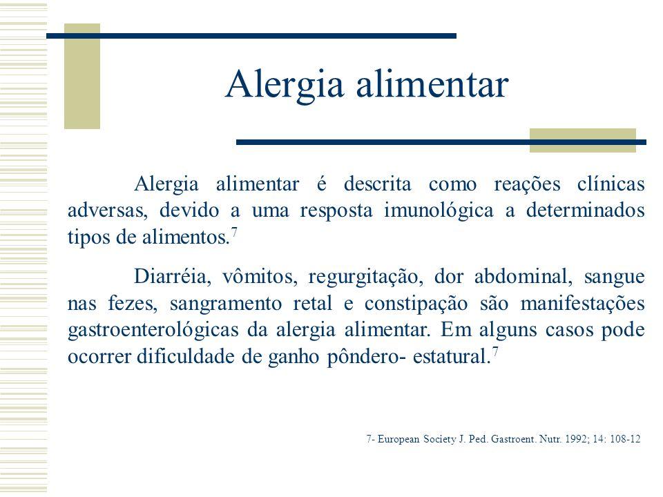 Alergia alimentar Alergia alimentar é descrita como reações clínicas adversas, devido a uma resposta imunológica a determinados tipos de alimentos.7.