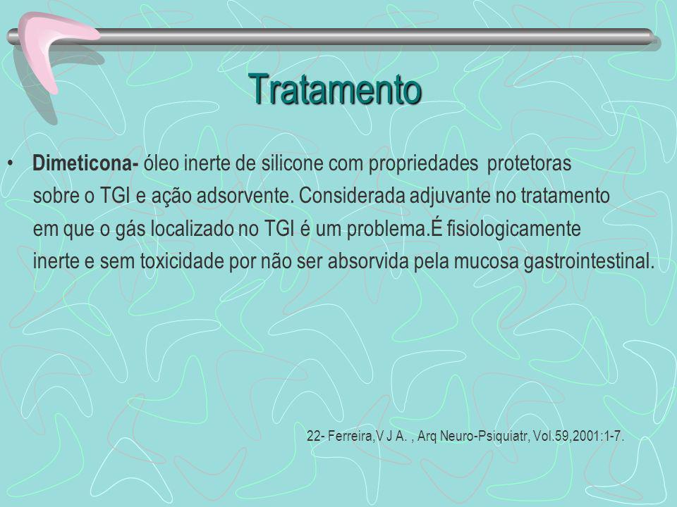 Tratamento Dimeticona- óleo inerte de silicone com propriedades protetoras. sobre o TGI e ação adsorvente. Considerada adjuvante no tratamento.