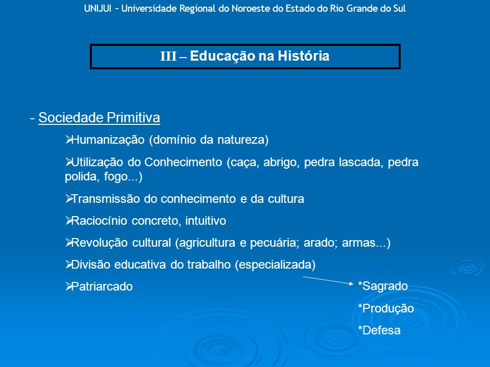 III – Educação na História