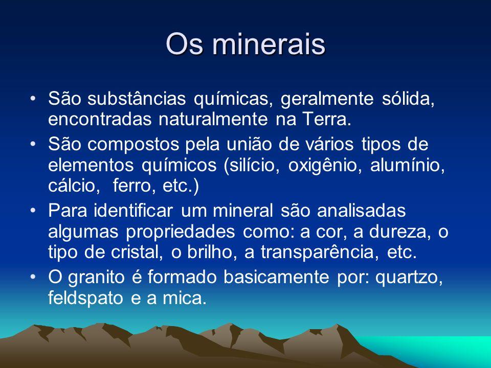 Os mineraisSão substâncias químicas, geralmente sólida, encontradas naturalmente na Terra.