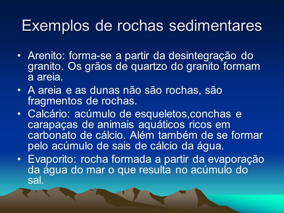 Exemplos de rochas sedimentares