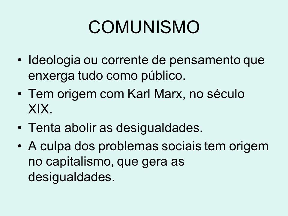 COMUNISMOIdeologia ou corrente de pensamento que enxerga tudo como público. Tem origem com Karl Marx, no século XIX.