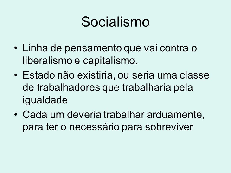 Socialismo Linha de pensamento que vai contra o liberalismo e capitalismo.