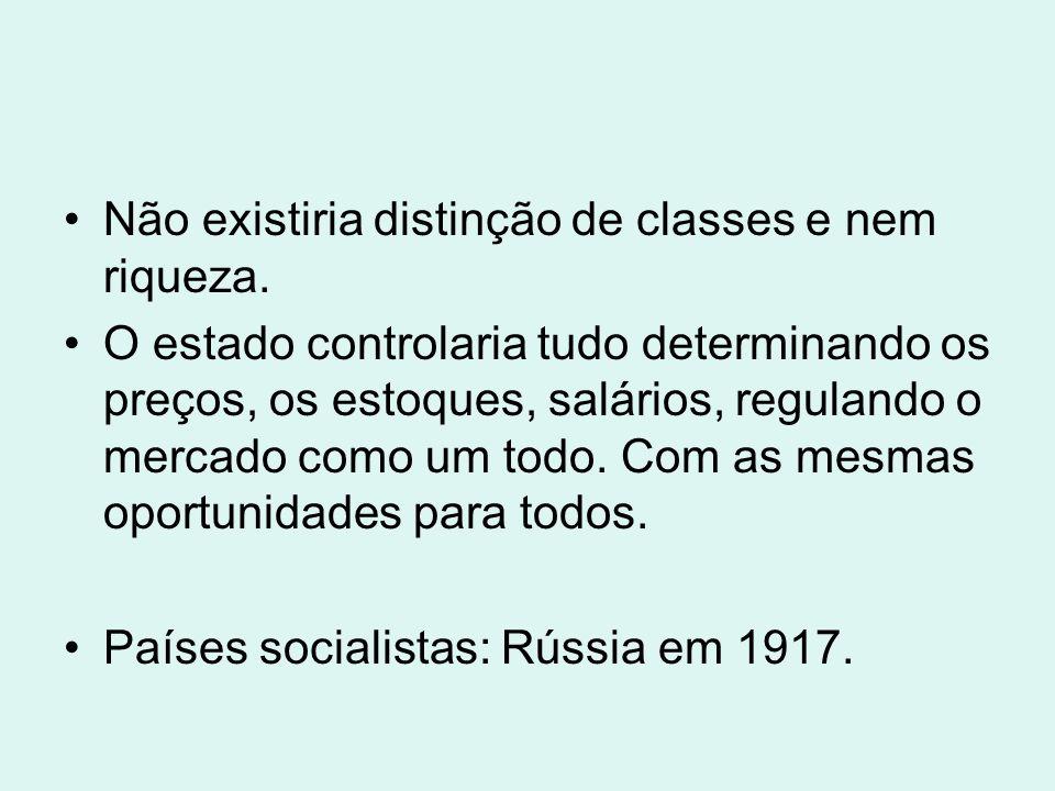 Não existiria distinção de classes e nem riqueza.