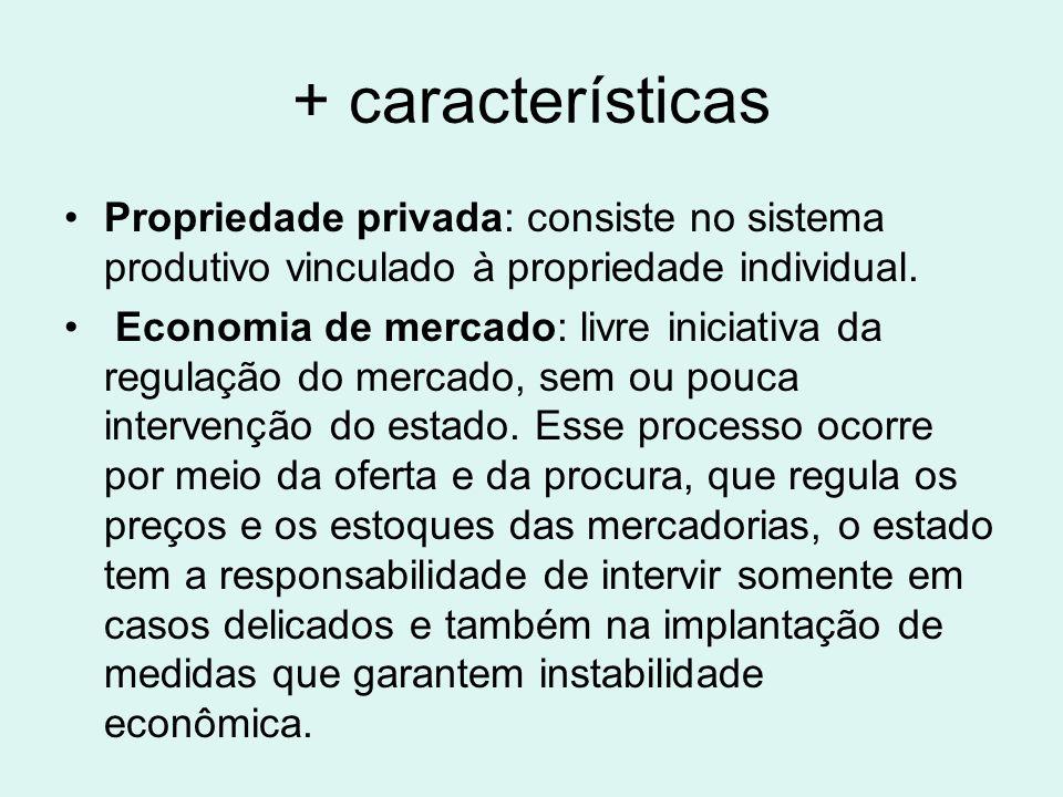+ característicasPropriedade privada: consiste no sistema produtivo vinculado à propriedade individual.
