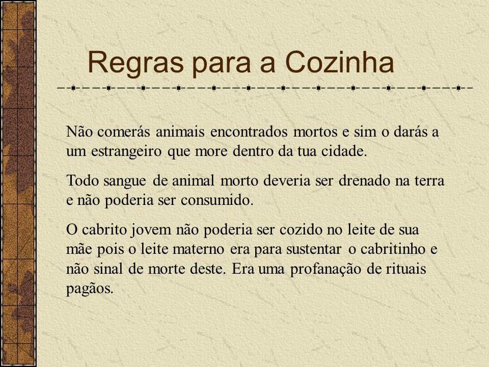 Regras para a Cozinha Não comerás animais encontrados mortos e sim o darás a um estrangeiro que more dentro da tua cidade.