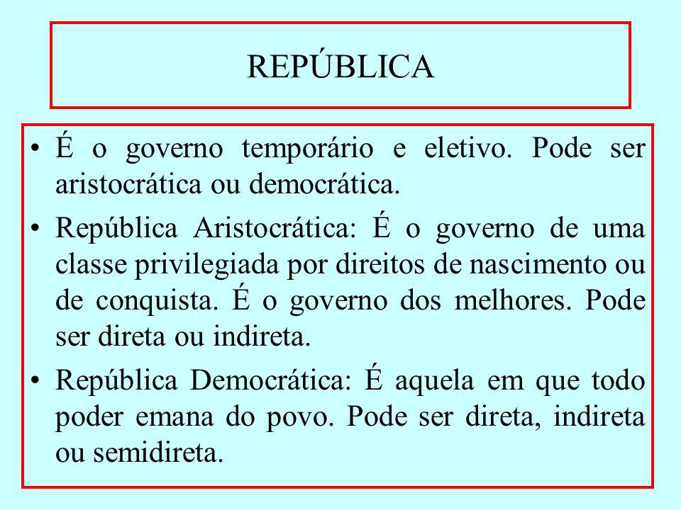 REPÚBLICA É o governo temporário e eletivo. Pode ser aristocrática ou democrática.