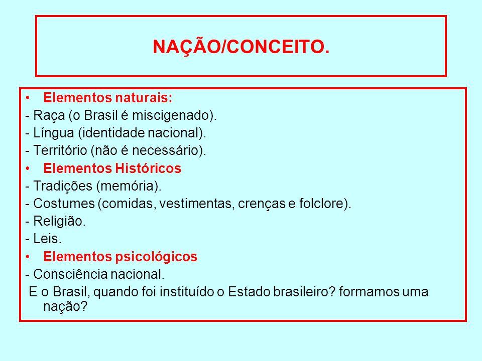 NAÇÃO/CONCEITO. Elementos naturais: - Raça (o Brasil é miscigenado).
