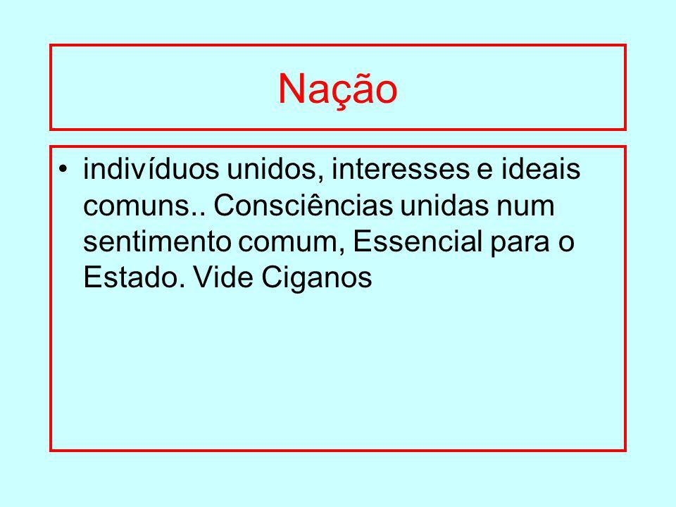 Nação indivíduos unidos, interesses e ideais comuns..