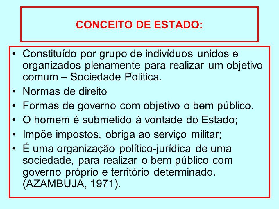 CONCEITO DE ESTADO: Constituído por grupo de indivíduos unidos e organizados plenamente para realizar um objetivo comum – Sociedade Política.