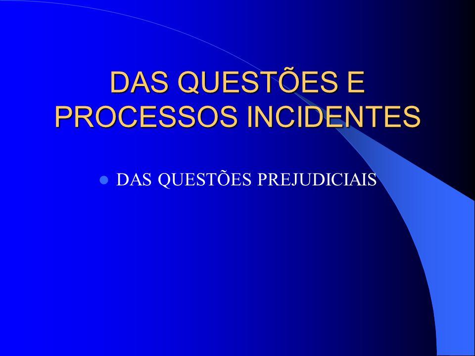 DAS QUESTÕES E PROCESSOS INCIDENTES