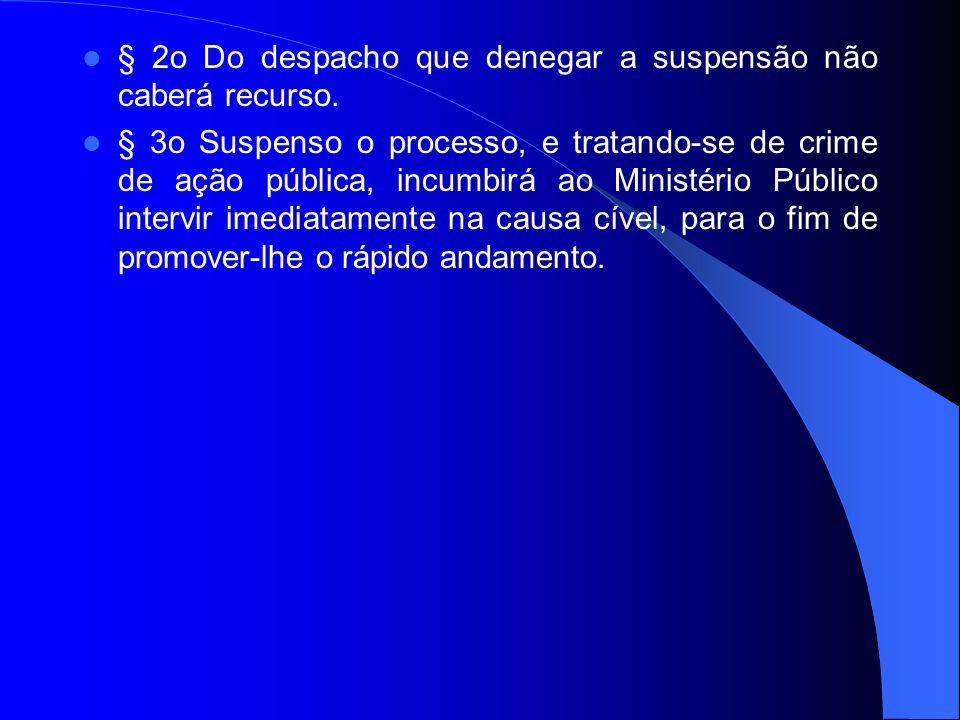 § 2o Do despacho que denegar a suspensão não caberá recurso.