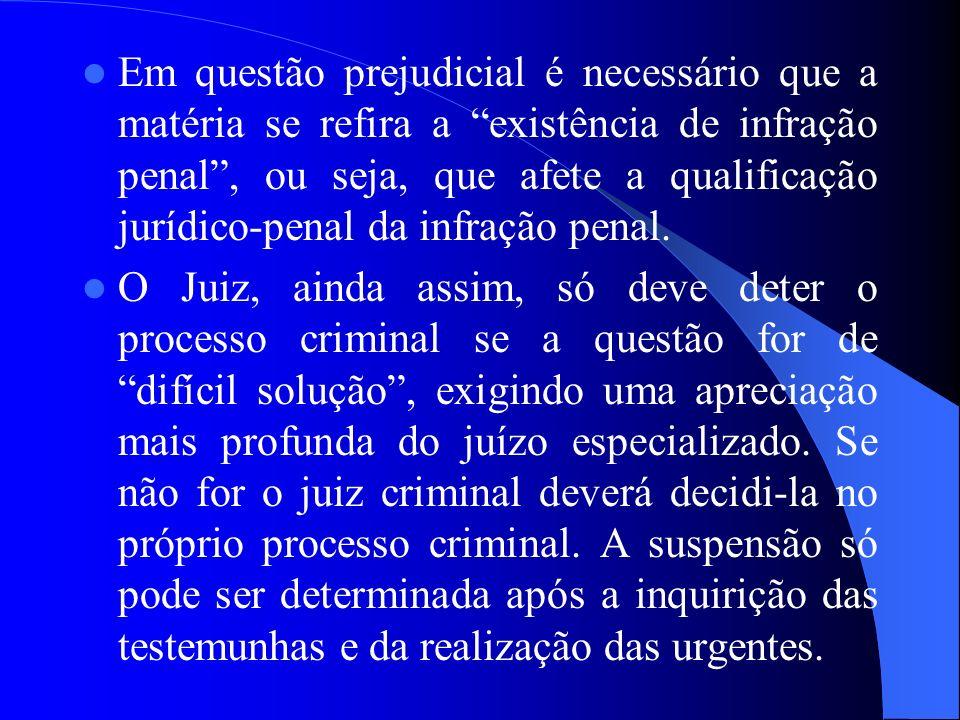 Em questão prejudicial é necessário que a matéria se refira a existência de infração penal , ou seja, que afete a qualificação jurídico-penal da infração penal.