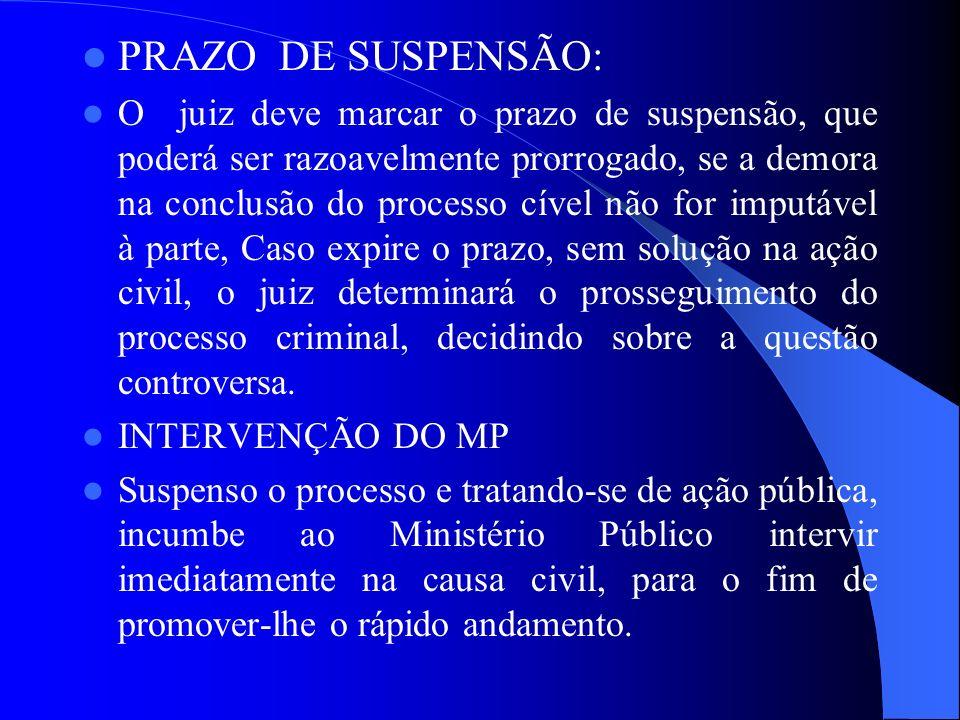 PRAZO DE SUSPENSÃO: