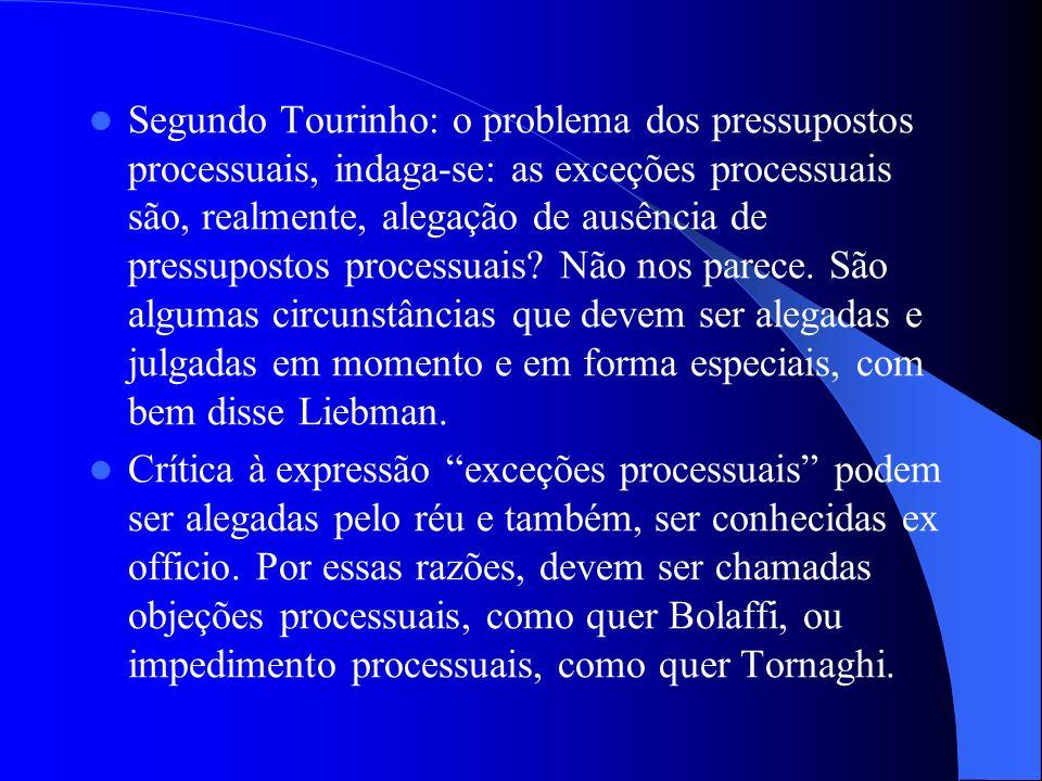 Segundo Tourinho: o problema dos pressupostos processuais, indaga-se: as exceções processuais são, realmente, alegação de ausência de pressupostos processuais Não nos parece. São algumas circunstâncias que devem ser alegadas e julgadas em momento e em forma especiais, com bem disse Liebman.