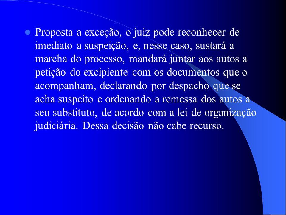 Proposta a exceção, o juiz pode reconhecer de imediato a suspeição, e, nesse caso, sustará a marcha do processo, mandará juntar aos autos a petição do excipiente com os documentos que o acompanham, declarando por despacho que se acha suspeito e ordenando a remessa dos autos a seu substituto, de acordo com a lei de organização judiciária.