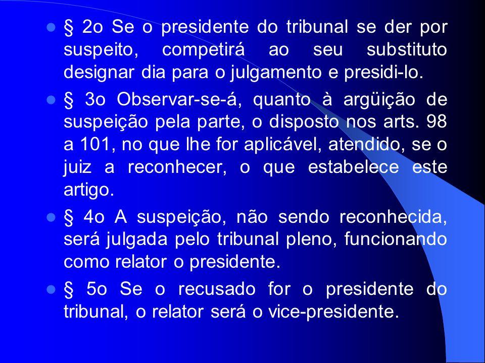 § 2o Se o presidente do tribunal se der por suspeito, competirá ao seu substituto designar dia para o julgamento e presidi-lo.