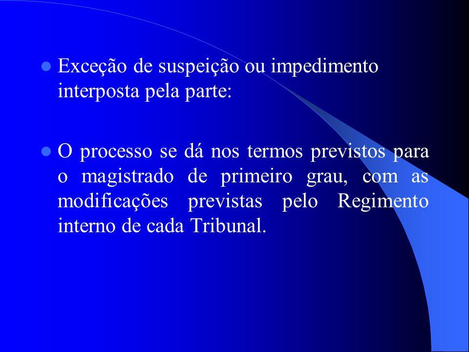Exceção de suspeição ou impedimento interposta pela parte: