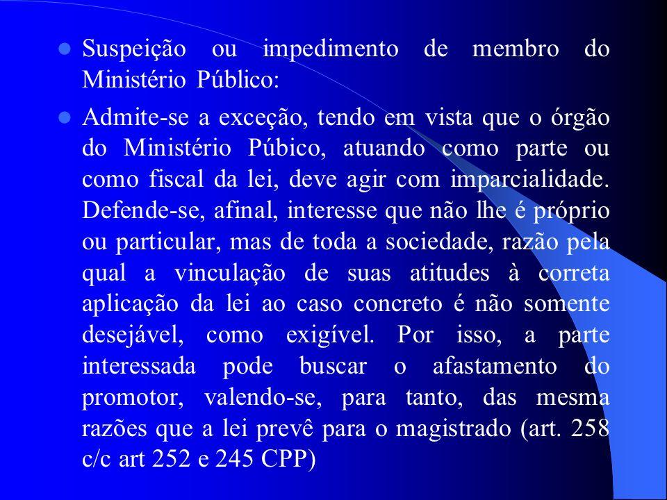 Suspeição ou impedimento de membro do Ministério Público: