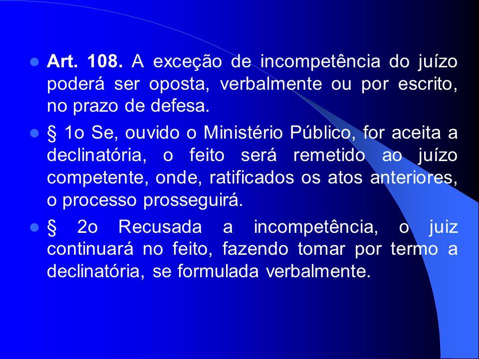 Art. 108. A exceção de incompetência do juízo poderá ser oposta, verbalmente ou por escrito, no prazo de defesa.