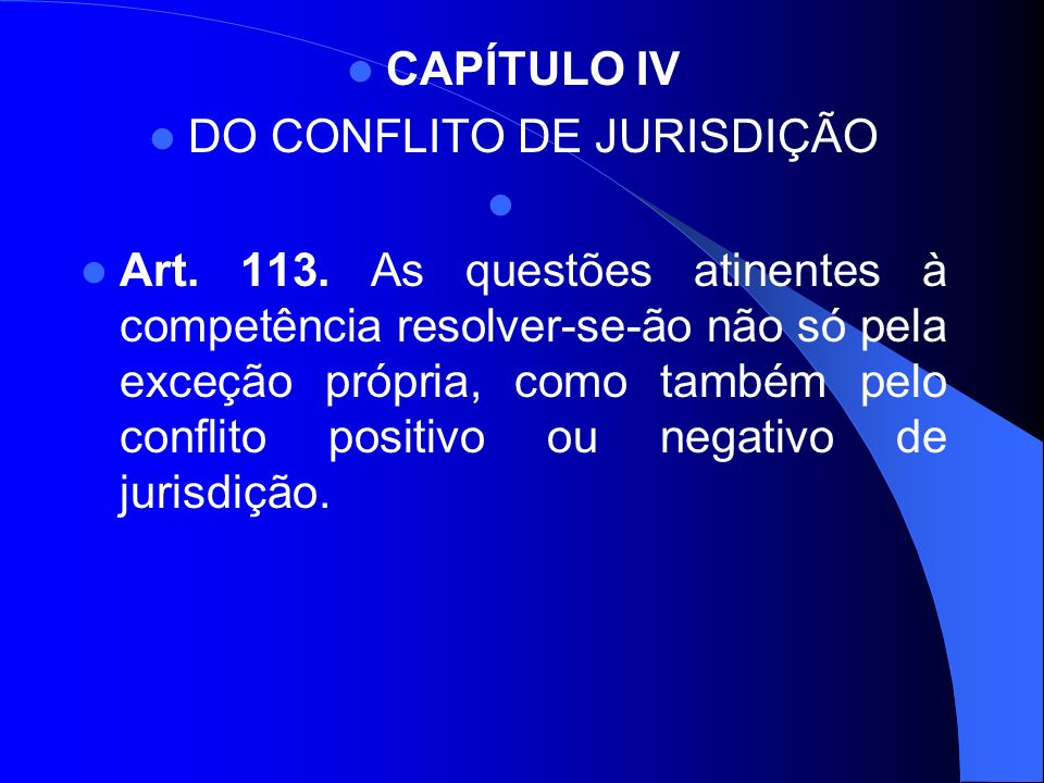 DO CONFLITO DE JURISDIÇÃO