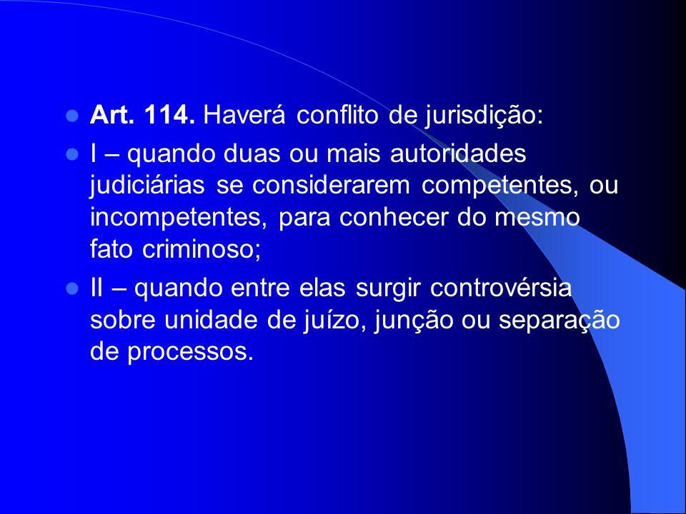 Art. 114. Haverá conflito de jurisdição: