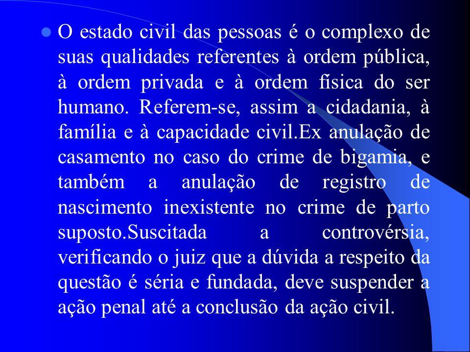 O estado civil das pessoas é o complexo de suas qualidades referentes à ordem pública, à ordem privada e à ordem física do ser humano.