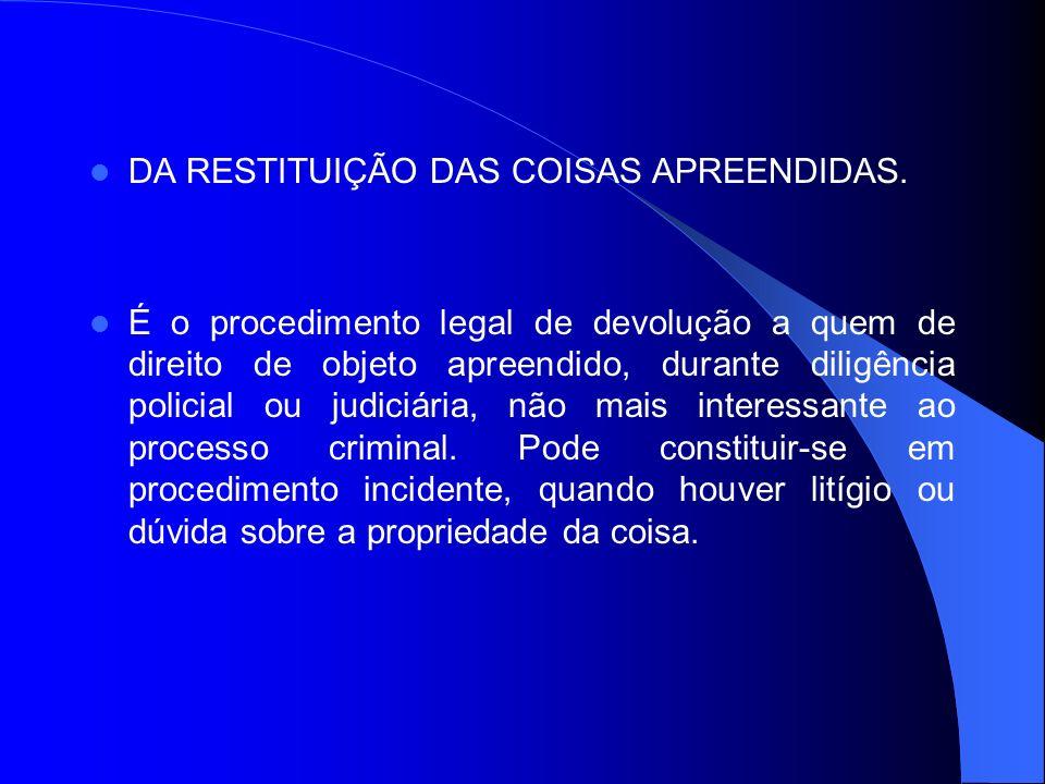 DA RESTITUIÇÃO DAS COISAS APREENDIDAS.