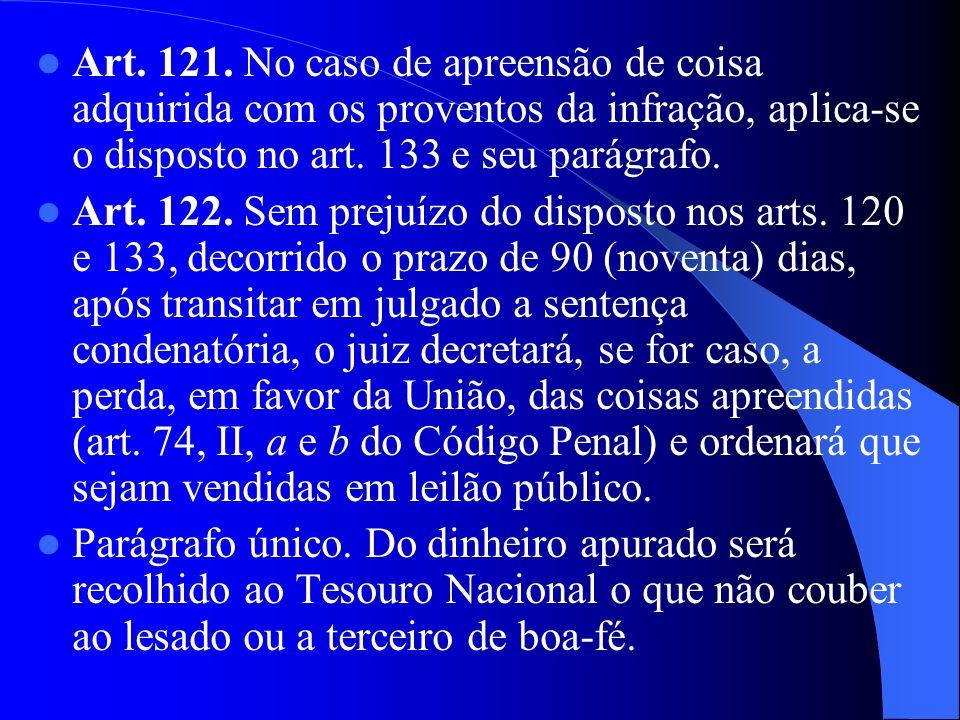 Art. 121. No caso de apreensão de coisa adquirida com os proventos da infração, aplica-se o disposto no art. 133 e seu parágrafo.