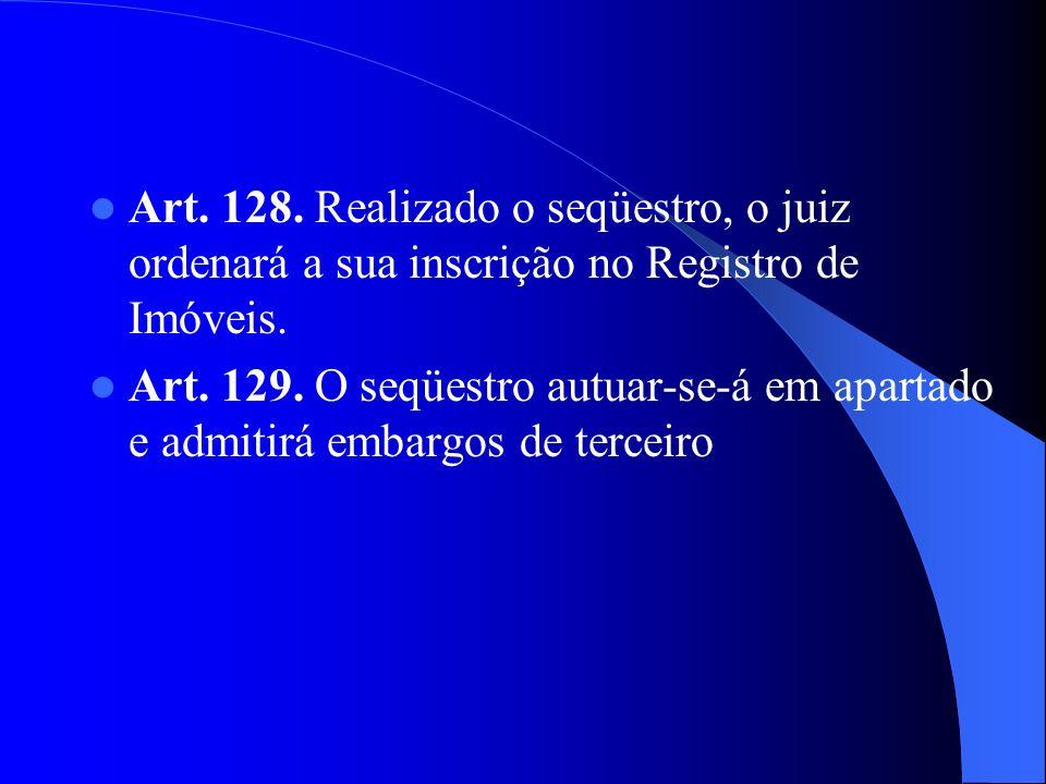 Art. 128. Realizado o seqüestro, o juiz ordenará a sua inscrição no Registro de Imóveis.