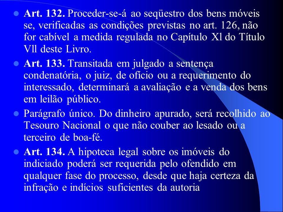 Art. 132. Proceder-se-á ao seqüestro dos bens móveis se, verificadas as condições previstas no art. 126, não for cabível a medida regulada no Capítulo Xl do Título Vll deste Livro.