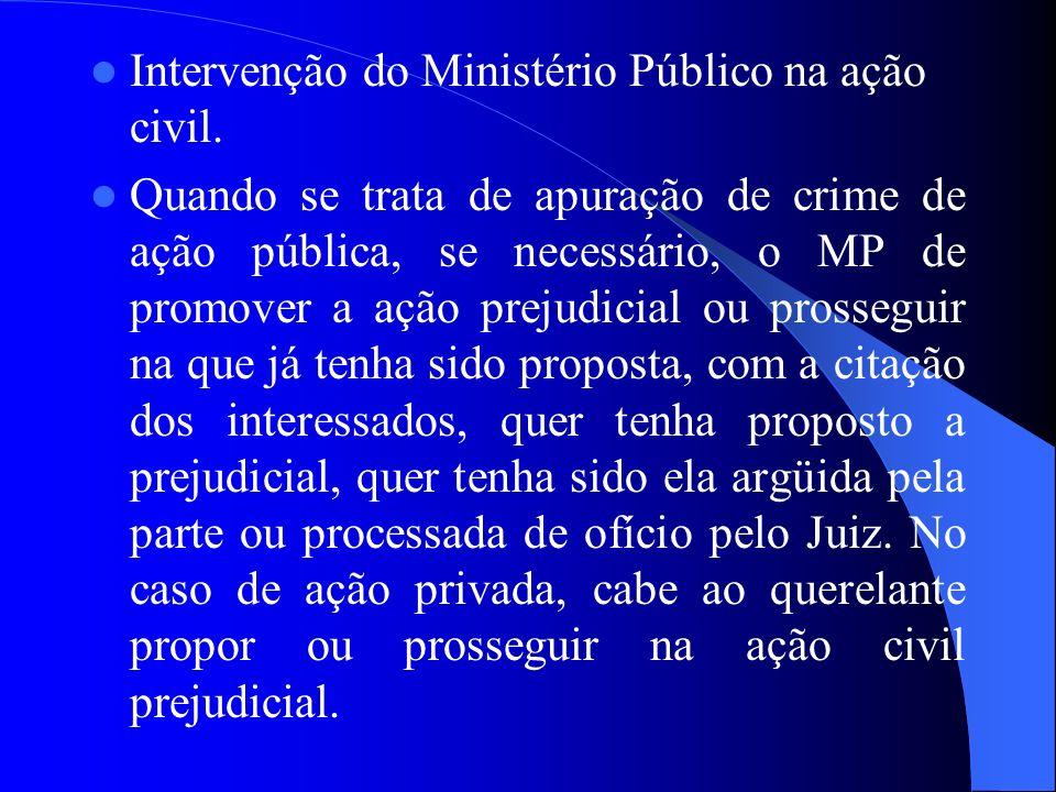 Intervenção do Ministério Público na ação civil.