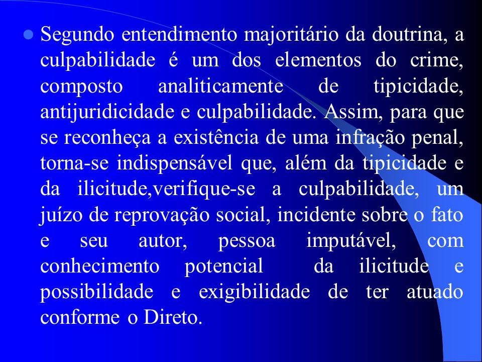Segundo entendimento majoritário da doutrina, a culpabilidade é um dos elementos do crime, composto analiticamente de tipicidade, antijuridicidade e culpabilidade.
