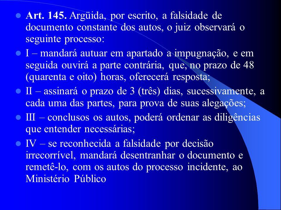 Art. 145. Argüida, por escrito, a falsidade de documento constante dos autos, o juiz observará o seguinte processo: