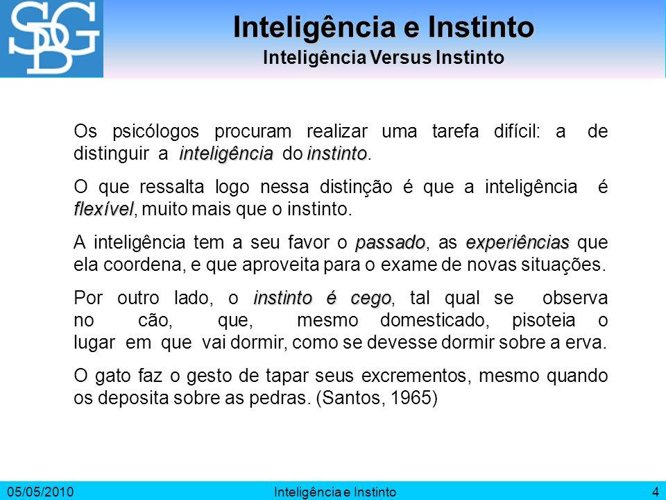 Inteligência e Instinto Inteligência Versus Instinto