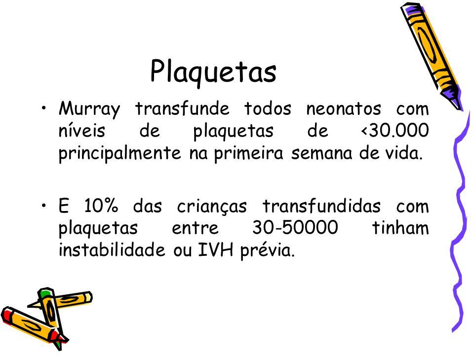 PlaquetasMurray transfunde todos neonatos com níveis de plaquetas de <30.000 principalmente na primeira semana de vida.