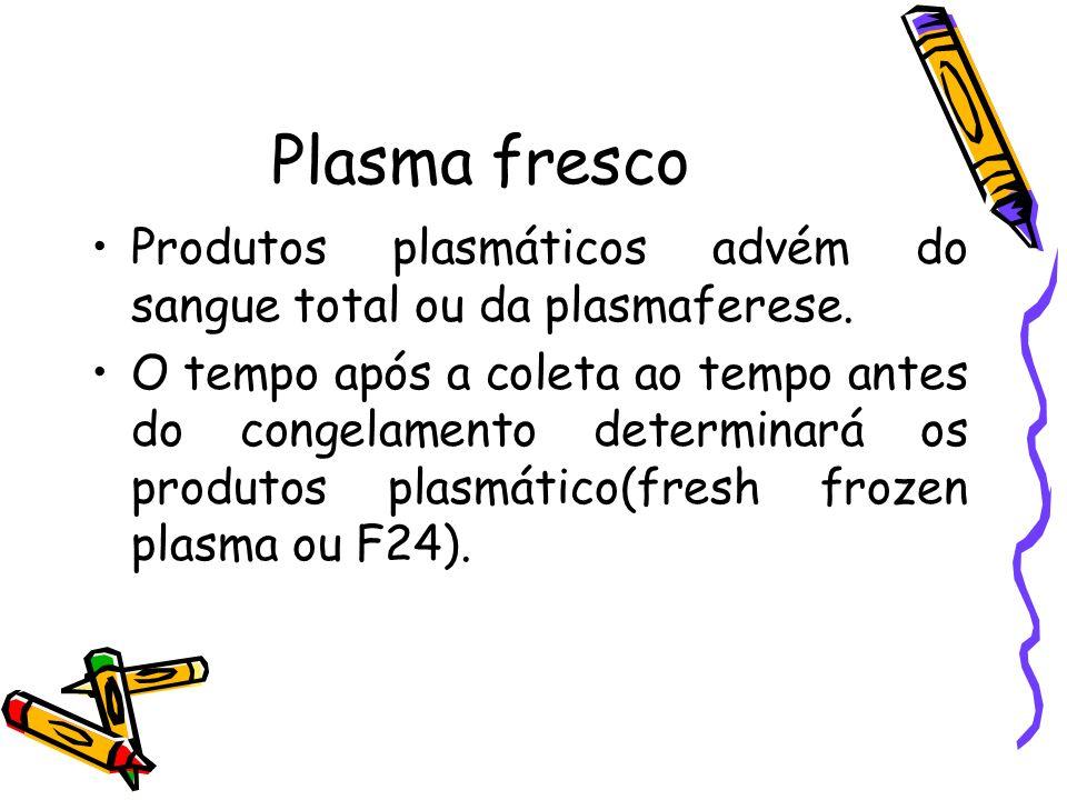 Plasma fresco Produtos plasmáticos advém do sangue total ou da plasmaferese.