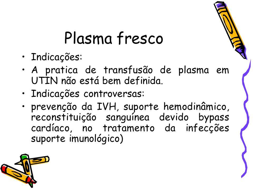 Plasma fresco Indicações: