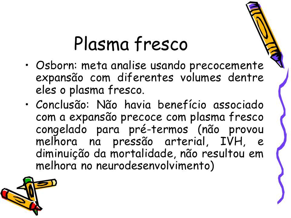 Plasma fresco Osborn: meta analise usando precocemente expansão com diferentes volumes dentre eles o plasma fresco.