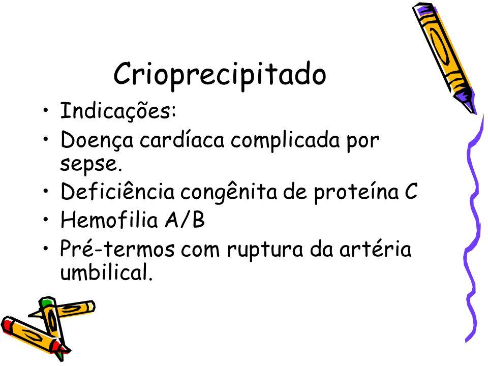 Crioprecipitado Indicações: Doença cardíaca complicada por sepse.