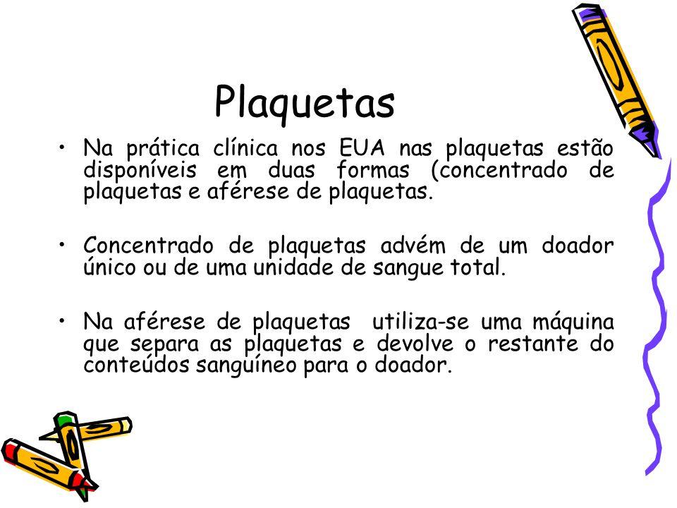 PlaquetasNa prática clínica nos EUA nas plaquetas estão disponíveis em duas formas (concentrado de plaquetas e aférese de plaquetas.