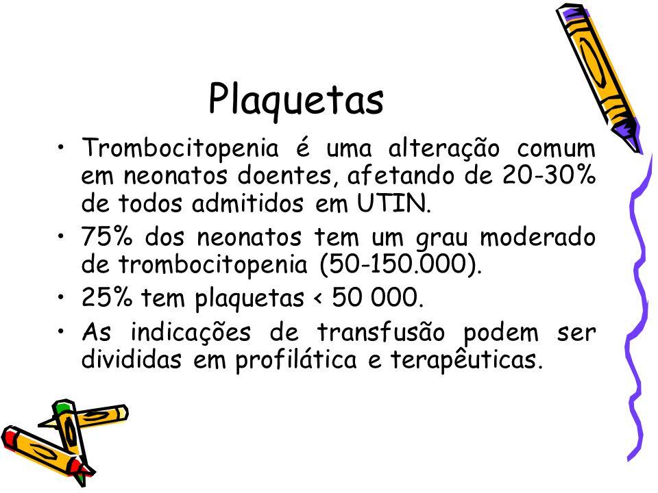 PlaquetasTrombocitopenia é uma alteração comum em neonatos doentes, afetando de 20-30% de todos admitidos em UTIN.