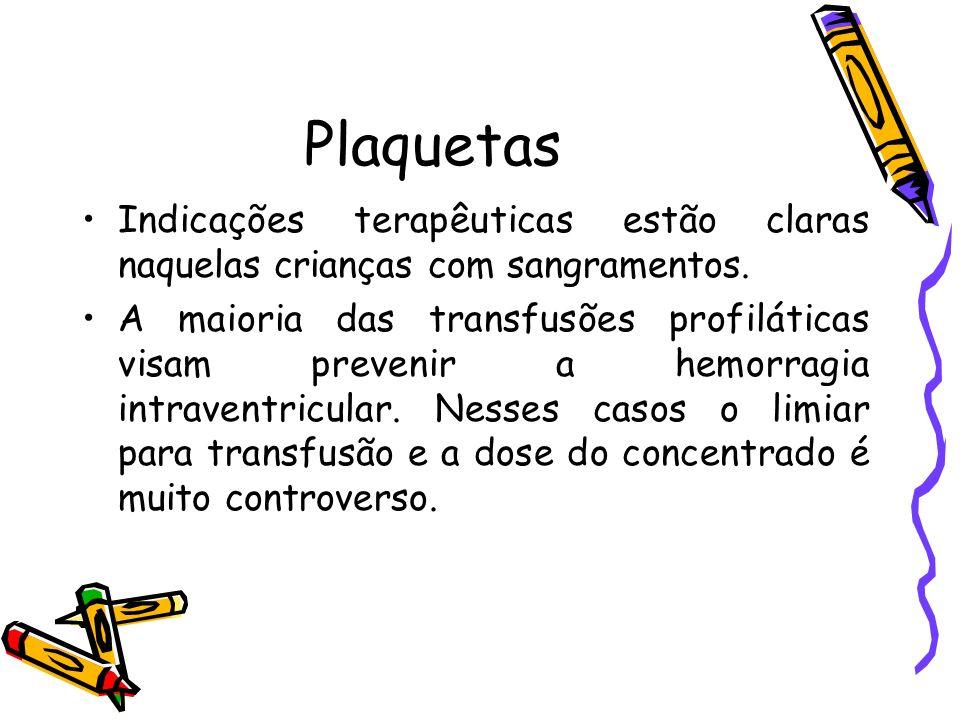 Plaquetas Indicações terapêuticas estão claras naquelas crianças com sangramentos.