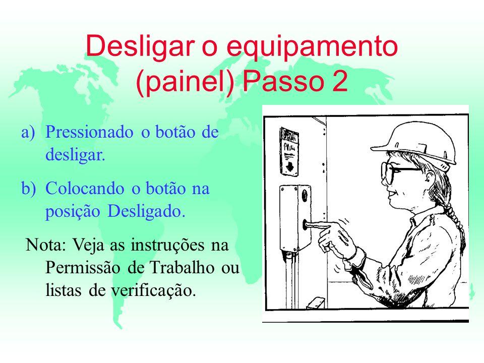 Desligar o equipamento (painel) Passo 2